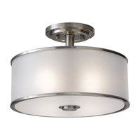 Casual Luxury 2 Light 13 inch Brushed Steel Semi-Flush Ceiling Light in Fluorescent, Silver Organza Fabric