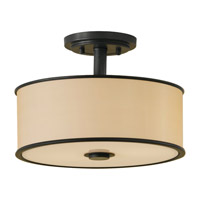 Casual Luxury 2 Light 13 inch Dark Bronze Semi-Flush Ceiling Light in Fluorescent, Bronze Organza