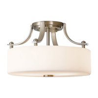 Sunset Drive 2 Light 13 inch Brushed Steel Semi-Flush Ceiling Light in Fluorescent, Opal Etched Glass