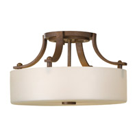 Sunset Drive 2 Light 13 inch Corinthian Bronze Semi-Flush Ceiling Light in Fluorescent, Pearl Glass