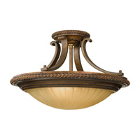 Feiss Kelham Hall 2 Light Semi Flush Mount in Firenze Gold and British Bronze SF262FG/BRB