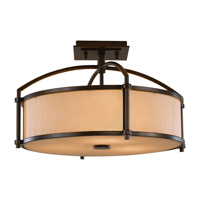 Preston 3 Light 16 inch Heritage Bronze Semi Flush Mount Ceiling Light in Standard