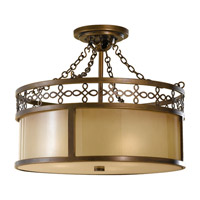 Justine 3 Light 17 inch Astral Bronze Semi Flush Mount Ceiling Light in Standard