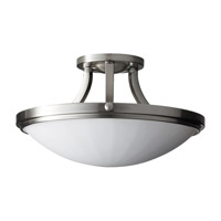 Perry 2 Light 16 inch Brushed Steel Semi-Flush Ceiling Light in Fluorescent