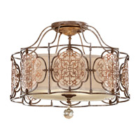 Feiss Marcella 3 Light Semi Flush Mount in British Bronze and Oxidized Bronze SF285BRB/OBZ