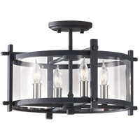 Feiss Ethan 4 Light Semi Flush Mount in Antique Forged Iron and Brushed Steel SF292AF/BS