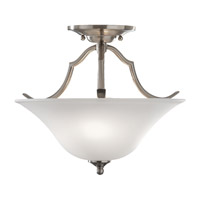 Beckett 2 Light 14 inch Brushed Steel Semi Flush Mount Ceiling Light