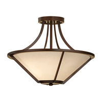 Nolan 3 Light 14 inch Heritage Bronze Semi-Flush Ceiling Light in Fluorescent