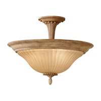 Feiss Blaire 3 Light Semi Flush Mount in Medium Aged Wood SF298MAW