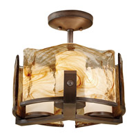 Aris 3 Light 15 inch Roman Bronze Semi Flush Mount Ceiling Light