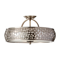 Zara 3 Light 19 inch Brushed Steel Semi Flush Mount Ceiling Light in Standard