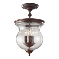 Pickering Lane 3 Light 10 inch Heritage Bronze Semi Flush Mount Ceiling Light