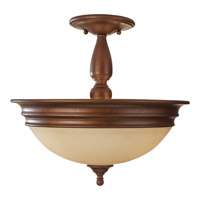 Yorktown Heights 3 Light 15 inch Prescott Bronze Semi Flush Mount Ceiling Light in Standard