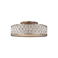 Feiss Lucia 6 Light Semi-Flush Mount in Burnished Silver with Linen Fabric Shade SF329BUS