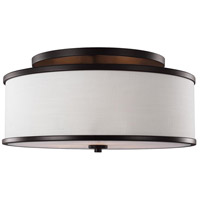 Lennon 3 Light 20 inch Oil Rubbed Bronze Semi-Flush Mount Ceiling Light, Ivory Linen
