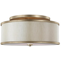 Lennon 3 Light 20 inch Sunset Gold Semi-Flush Mount Ceiling Light, Cream Linen