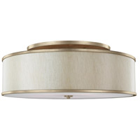 Lennon 5 Light 30 inch Sunset Gold Semi-Flush Mount Ceiling Light, Cream Linen