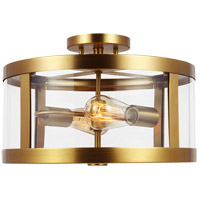 Feiss SF341BBS Harrow 2 Light 15 inch Burnished Brass Semi Flush Mount Ceiling Light