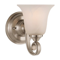 Vista 1 Light 6 inch Brushed Steel Vanity Strip Wall Light in White Alabaster Glass