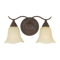 Morningside 2 Light 15 inch Grecian Bronze Vanity Strip Wall Light in Cream Snow Glass