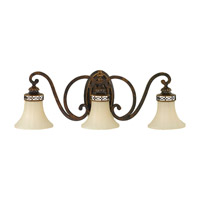 Drawing Room 3 Light 27 inch Walnut Vanity Strip Wall Light in 27.25