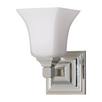 American Foursquare 1 Light 5 inch Polished Nickel Vanity Strip Wall Light in Opal Etched Glass