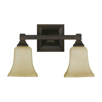 Feiss American Foursquare 2 Light Vanity Strip in Oil Rubbed Bronze VS12402-ORB