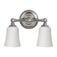 Huguenot Lake 2 Light 13 inch Polished Nickel Vanity Strip Wall Light in Opal Etched Glass