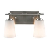 Sunset Drive 2 Light 14 inch Brushed Steel Vanity Strip Wall Light in Opal Etched Glass