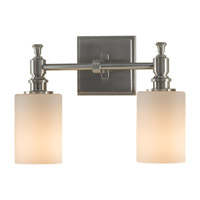 Sullivan 2 Light 13 inch Brushed Steel Vanity Strip Wall Light in Opal Etched Glass