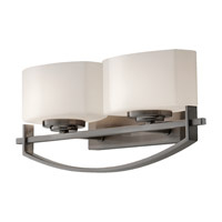 Bleeker Street 2 Light 16 inch Brushed Steel Vanity Strip Wall Light in Opal Etched Glass, 16.125