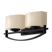 Bleeker Street 2 Light 16 inch Oil Rubbed Bronze Vanity Strip Wall Light in Cream Etched Glass, 16.125