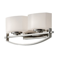 Bleeker Street 2 Light 16 inch Polished Nickel Vanity Strip Wall Light in Opal Etched Glass, 16.125