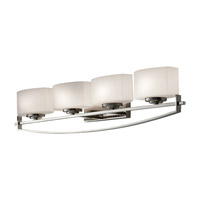 Bleeker Street 4 Light 32 inch Polished Nickel Vanity Strip Wall Light in Opal Etched Glass, 31.875