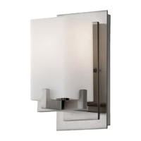 Riva 1 Light 5 inch Brushed Steel Vanity Strip Wall Light in Opal Etched Glass