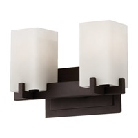 Feiss VS18402-ORB Riva 2 Light 13 inch Oil Rubbed Bronze Vanity Strip Wall Light in Cream Etched Glass photo thumbnail