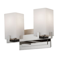Riva 2 Light 13 inch Polished Nickel Vanity Strip Wall Light in Opal Etched Glass