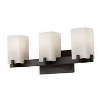 Riva 3 Light 22 inch Oil Rubbed Bronze Vanity Strip Wall Light in Cream Etched Glass, 21.5