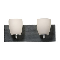 Feiss Quarry 2 Light Vanity Strip in Brushed Steel and Grey Slate VS19202-BS/GSL