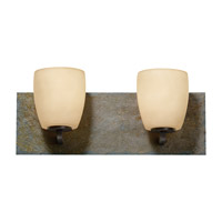 Feiss Quarry 2 Light Vanity Strip in Oil Rubbed Bronze and Rusted Slate VS19202-ORB/RSL