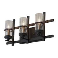 Feiss Ethan 3 Light Vanity Strip in Antique Forged Iron and Brushed Steel VS20003-AF/BS
