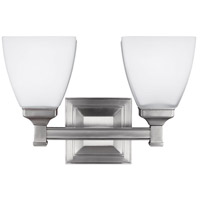 Feiss Putnam 2 Light Vanity in Satin Nickel with White Opal Etched Glass VS22802SN