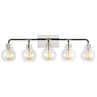 Feiss VS24405PN/TXB Clara 5 Light 40 inch Polished Nickel / Textured Black Wall Bath Fixture Wall Light