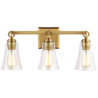 Monterro 3 Light 22 inch Burnished Brass Wall Bath Vanity Wall Light