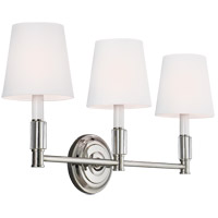 Lismore 3 Light 24 inch Polished Nickel Vanity Strip Wall Light in White Fabric