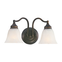 Bristol 2 Light 15 inch Oil Rubbed Bronze Vanity Strip Wall Light in White Alabaster Glass, 14.5