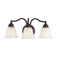 Bristol 3 Light 18 inch Oil Rubbed Bronze Vanity Strip Wall Light in White Alabaster Glass