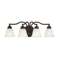 Bristol 4 Light 25 inch Oil Rubbed Bronze Vanity Strip Wall Light in White Alabaster Glass, 24.5