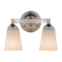 Gravity 2 Light 13 inch Brushed Steel Vanity Strip Wall Light in Opal Etched Glass, 12.75