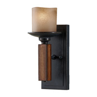 Feiss Madera 1 Light Wall Bracket in Antique Forged Iron and Aged Walnut WB1517AF/AGW